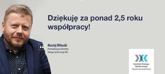 Podziękowania dla Macieja Wituckiego, pierwszego przewodniczącego Komitetu